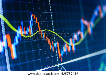 Stock market chart, graph on blue background. Finance concept. Business analysis diagram. Data on live computer screen. Market report on blue background. Share price quotes.   - stock photo