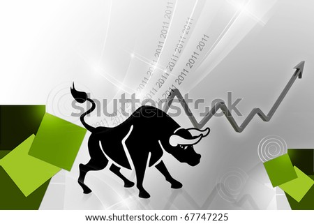 2011 stock market is in the path of progress and growth - stock photo