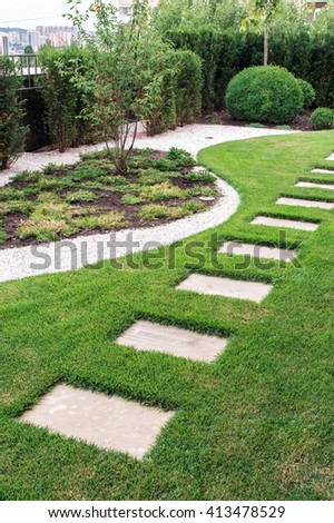 stone path in the garden - stock photo