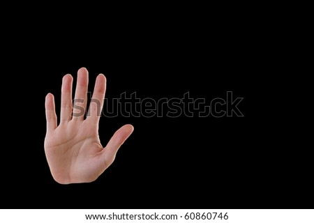 """Stop"" Hand Gesture, Isolated on Black - stock photo"