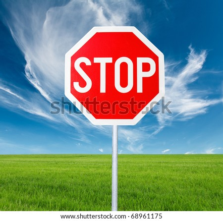 Stop Sign and Clean Landscape - stock photo
