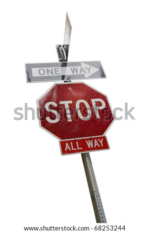 Stop sign on a white background - stock photo