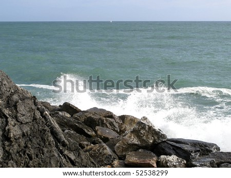 storm in the sea - stock photo
