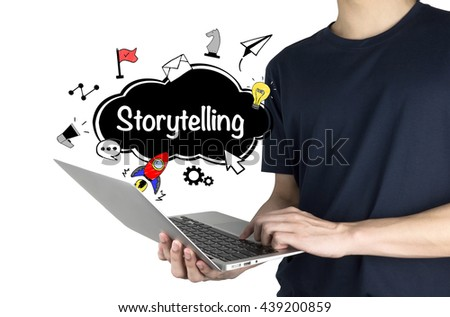 """""""Storytelling Concept"""" with man using laptop isolated on white background   - stock photo"""
