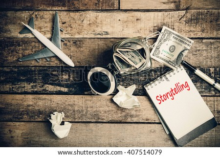 Storytelling word on pages. - stock photo