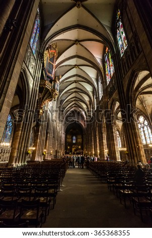 ?STRASBOURG, FRANCE - NOVEMBER 5: Interior views of Cathedral of Our Lady in the old town part of Strasbourg on November 5, 2015. Strasbourg is a city in region Alsace in France.
