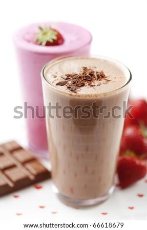 strawberry and chocolate milkshake - stock photo