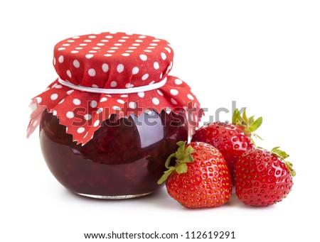 Strawberry jam and fresh berries isolated on white - stock photo