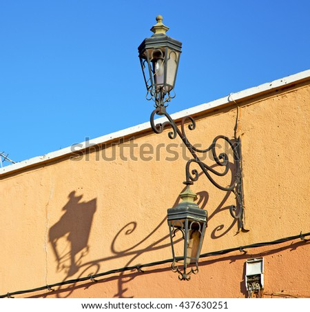 street lamp in morocco africa old lantern   the outdoors and decoration - stock photo