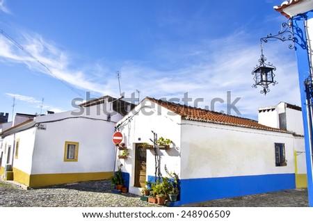 streets and houses of Vila Vicosa, Alentejo, Portugal  - stock photo