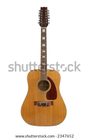12-string acoustic guitar, separated on  a white background, clipping path included.