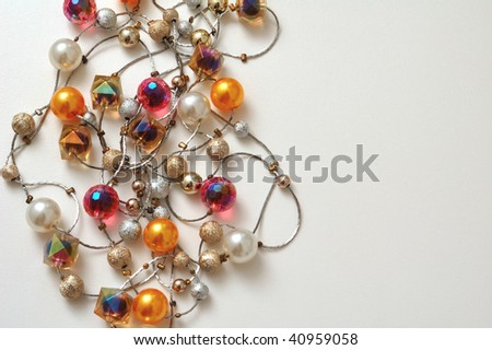 String of beads, necklace background - stock photo
