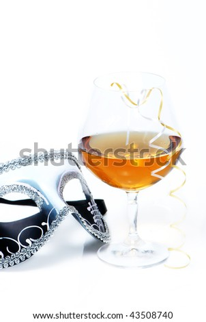 strong drink end mask on a white background - stock photo
