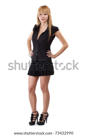 Studio full length body shot of beautiful fashionable woman