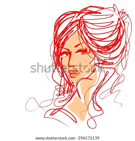 stylish  original hand-drawn graphics portrait  with beautiful young attractive girl model for design. Fashion, style,    beauty . Graphic, sketch drawing. Sexy  woman  - stock photo