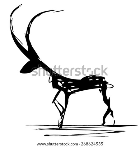 stylized illustration of antelope in black and white colors - stock photo