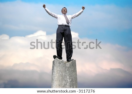 Successful businessman !Businessman with arms up . - stock photo