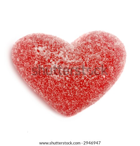 Sugar candy Valentine's heart isolated on white background