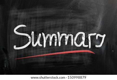 """""""Summary"""" handwritten with chalk on a blackboard - stock photo"""