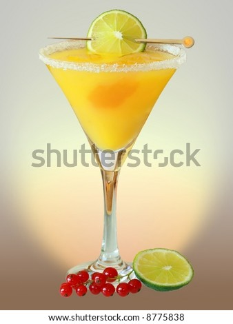 Summer alcoholic recreational drink with cherry and lemon - stock photo