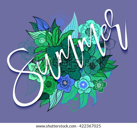 Summer  background for design of postcards, flyers, brochures, banners, with inscription hello summer.Raster version - stock photo