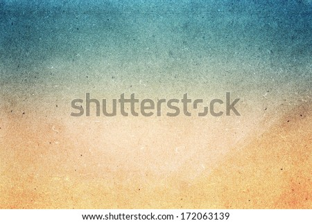 Summer beach recycled paper textured background with film grain. Abstract sea beach recycled paper texture. Water color on recycle blue and yellow. - stock photo