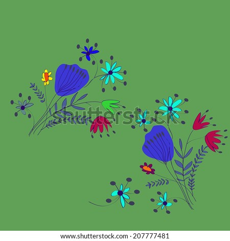 Summer bouquets of colored flowers on a green background. Raster version. - stock photo