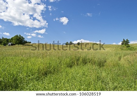 """Summer Hill View"" A green hillside on a beautiful Summer day in Sussex County, New Jersey. - stock photo"
