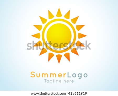 summer label. Summer logo icon. Sunny design element. Background design for banner, poster, flyer, cover, brochure. Sunrise and sunset. Bright nature graphic. - stock photo