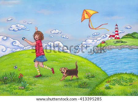 Summer landscape with a girl running on a hill, playing with a kite and her cute dog. Watercolor children's illustration.  - stock photo