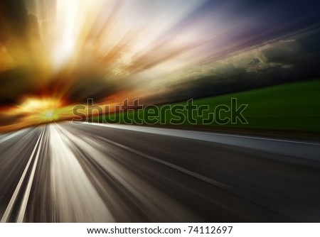 Summer landscape with old road - stock photo