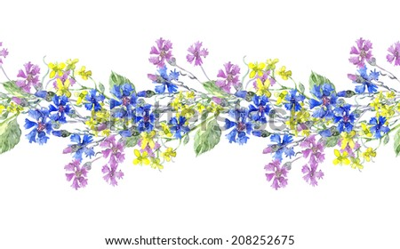 Summer meadow flowers Garland.Watercolor hand painted illustration.