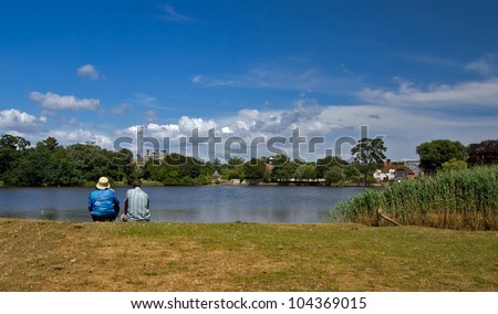 Summer scene on the riverbank in the New Forest - stock photo