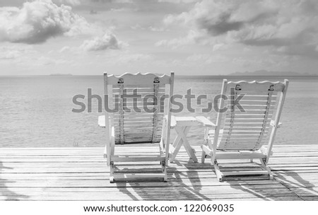 Summer white wood  beach chair  - stock photo