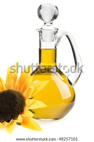 sunflower oil isolated on the white background - stock photo