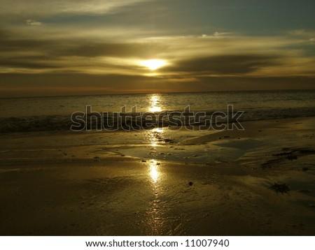 Sunrise reflection - stock photo