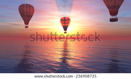 sunset and hot air balloon in 3d - stock photo