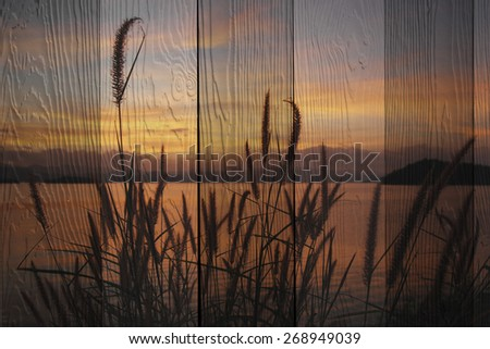 """""""sunset at lake"""" The wood painting concept - stock photo"""