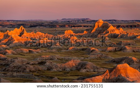 Sunset at Panorama Point Badlands - stock photo