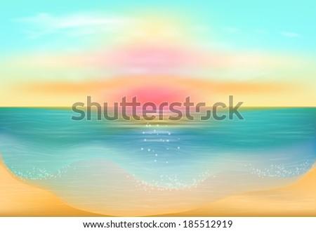 Sunset on the sea. Seascape.  Raster copy  - stock photo
