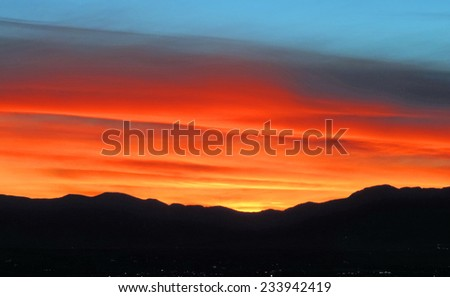 sunset over the front range as seen from Broomfield,  colorado          - stock photo