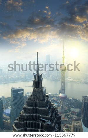 2012 Sunset Shanghai - stock photo