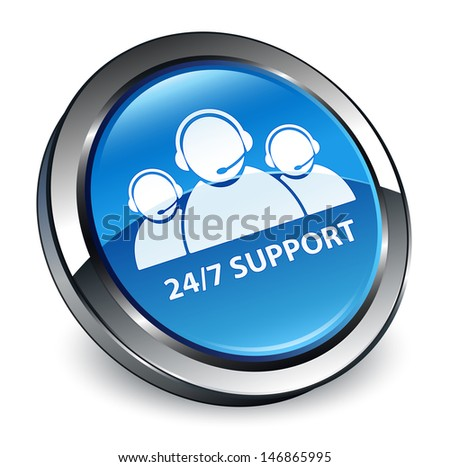 24/7 support customer care team icon 3d blue button - stock photo