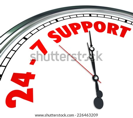 24-7 Support words on a clock face to promise round the cloce support and customer service to solve your trouble, problem, issue or difficulty - stock photo