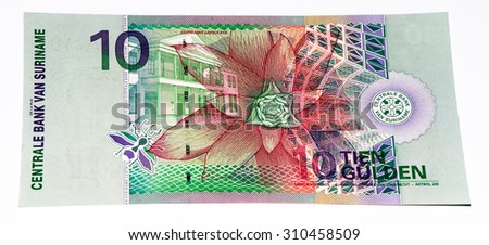 10 Surinamese gulden bank note. Gulden is the former currency of Suriname