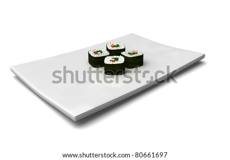 4 sushi rolls served on a white rectangular plate isolated on white - stock photo