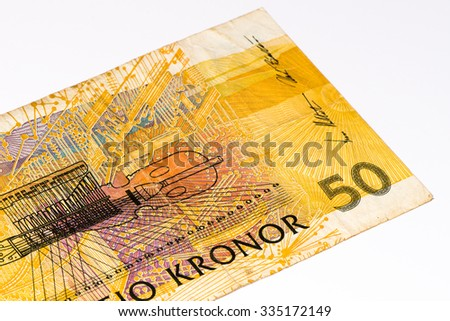 50 Swedish crown bank note. Swedish crown is the national currency of Sweden - stock photo