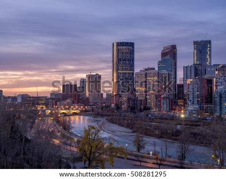 Sweeping skyline view at sunrise  in Calgary, Alberta. Calgary is home to many oil companies.