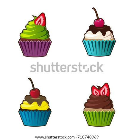 cartoon decorations cupcake vector seamless pattern muffin sweet stock vector