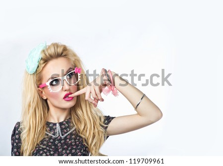 Sweet sexy lady with glasses. - stock photo